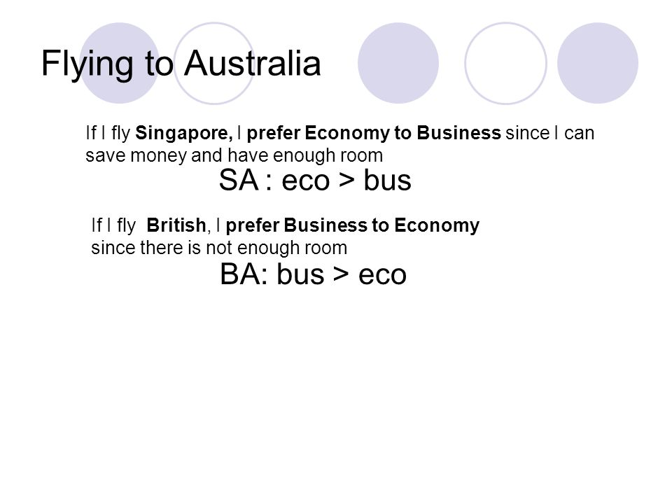 Flying to Australia If I fly Singapore, I prefer Economy to Business since I can save money and have enough room If I fly British, I prefer Business to Economy since there is not enough room SA : eco > bus BA: bus > eco