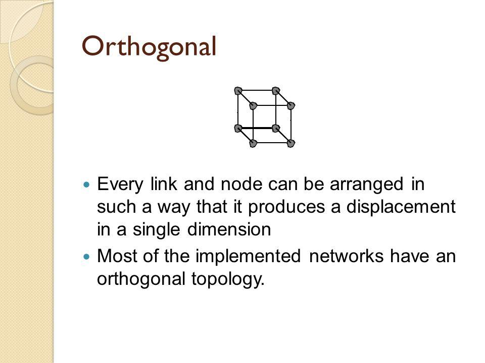 Orthogonal Every link and node can be arranged in such a way that it produces a displacement in a single dimension Most of the implemented networks ha