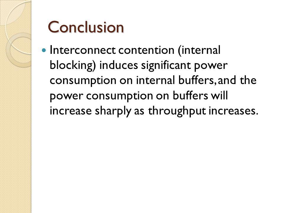 Conclusion Interconnect contention (internal blocking) induces significant power consumption on internal buffers, and the power consumption on buffers will increase sharply as throughput increases.