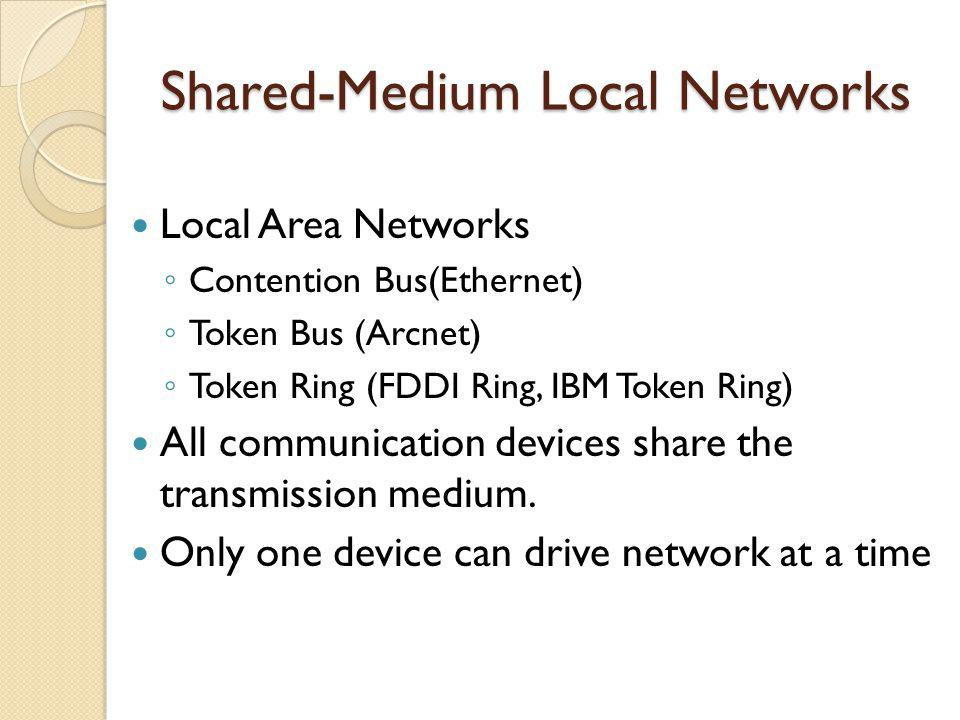 Shared-Medium Local Networks Local Area Networks Contention Bus(Ethernet) Token Bus (Arcnet) Token Ring (FDDI Ring, IBM Token Ring) All communication