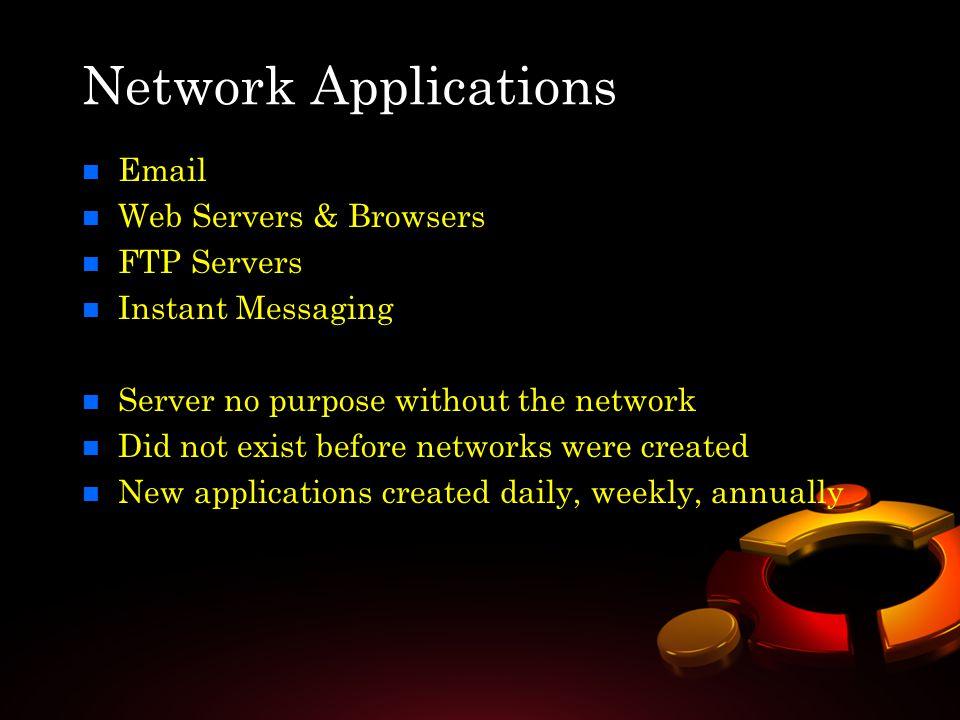 Network Applications n n Email n n Web Servers & Browsers n n FTP Servers n n Instant Messaging n n Server no purpose without the network n n Did not