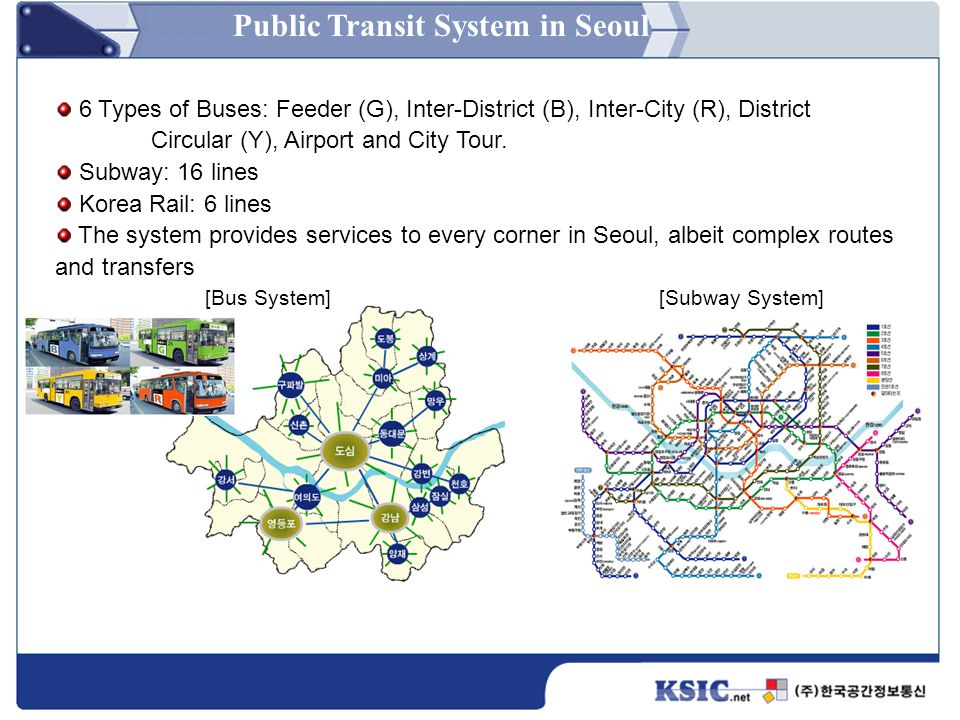 [Bus System][Subway System] 6 Types of Buses: Feeder (G), Inter-District (B), Inter-City (R), District Circular (Y), Airport and City Tour. Subway: 16
