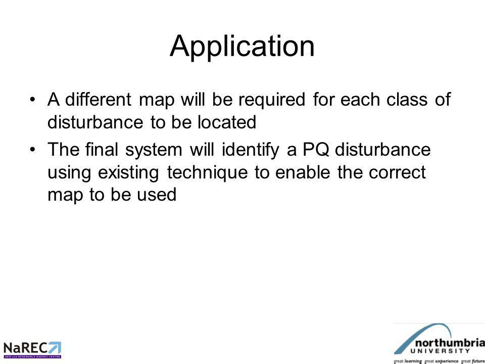 Application A different map will be required for each class of disturbance to be located The final system will identify a PQ disturbance using existing technique to enable the correct map to be used