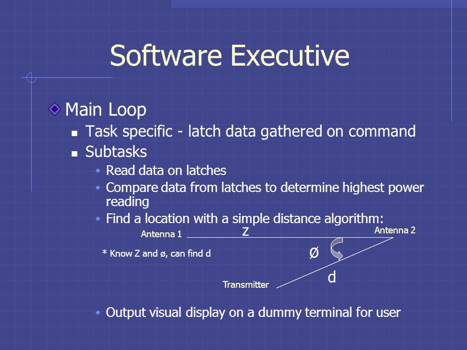 Software Executive Main Loop Task specific - latch data gathered on command Subtasks Read data on latches Compare data from latches to determine highest power reading Find a location with a simple distance algorithm: Output visual display on a dummy terminal for user Antenna 1 Antenna 2 Transmitter ø z d * Know Z and ø, can find d
