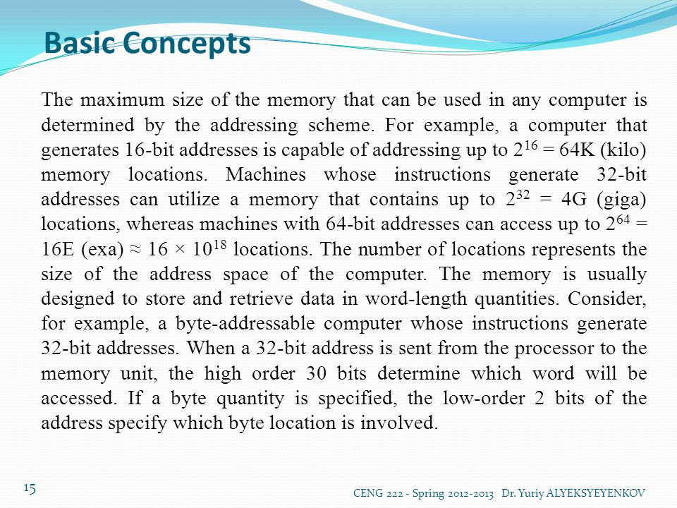 Basic Concepts CENG 222 - Spring 2012-2013 Dr. Yuriy ALYEKSYEYENKOV 15 The maximum size of the memory that can be used in any computer is determined b