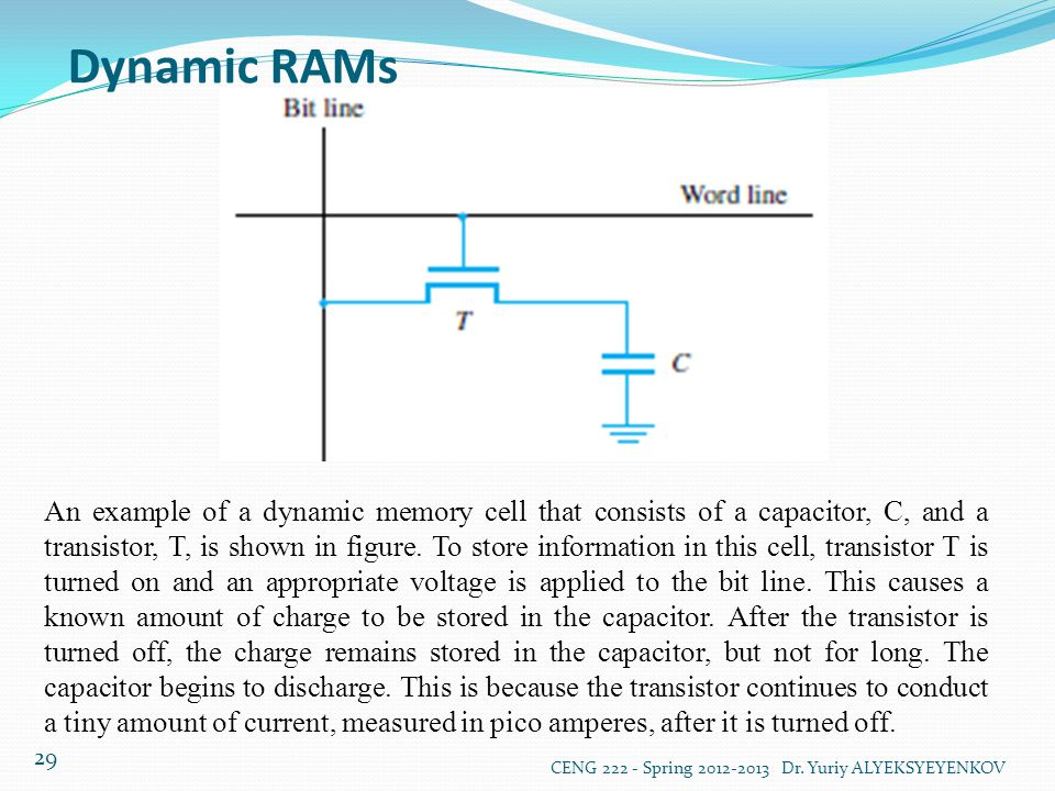 Dynamic RAMs CENG 222 - Spring 2012-2013 Dr. Yuriy ALYEKSYEYENKOV 29 An example of a dynamic memory cell that consists of a capacitor, C, and a transi