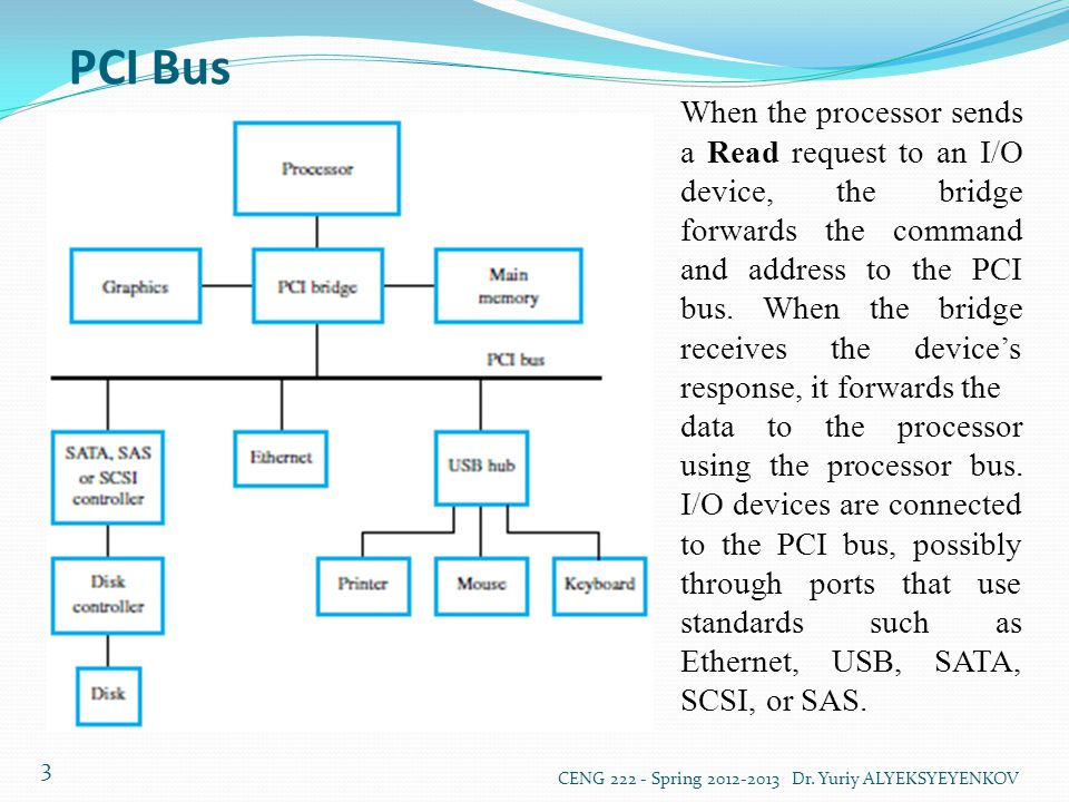 PCI Bus CENG 222 - Spring 2012-2013 Dr. Yuriy ALYEKSYEYENKOV 3 When the processor sends a Read request to an I/O device, the bridge forwards the comma