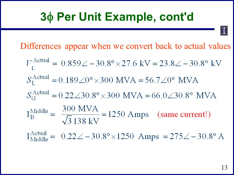 3 Per Unit Example, cont'd Differences appear when we convert back to actual values 13