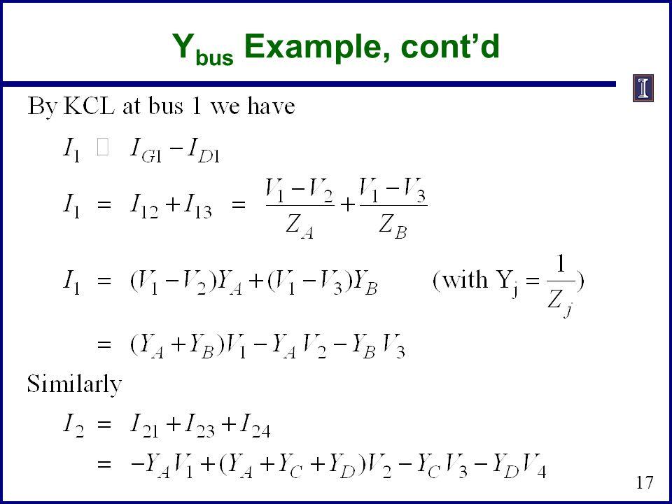 Y bus Example, contd 17