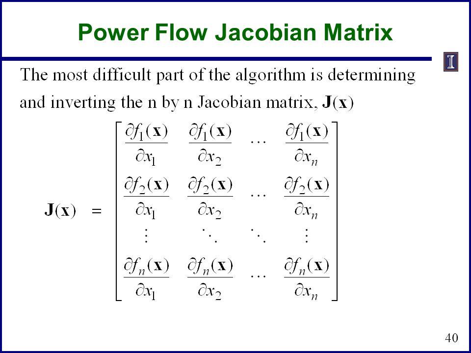 Power Flow Jacobian Matrix 40