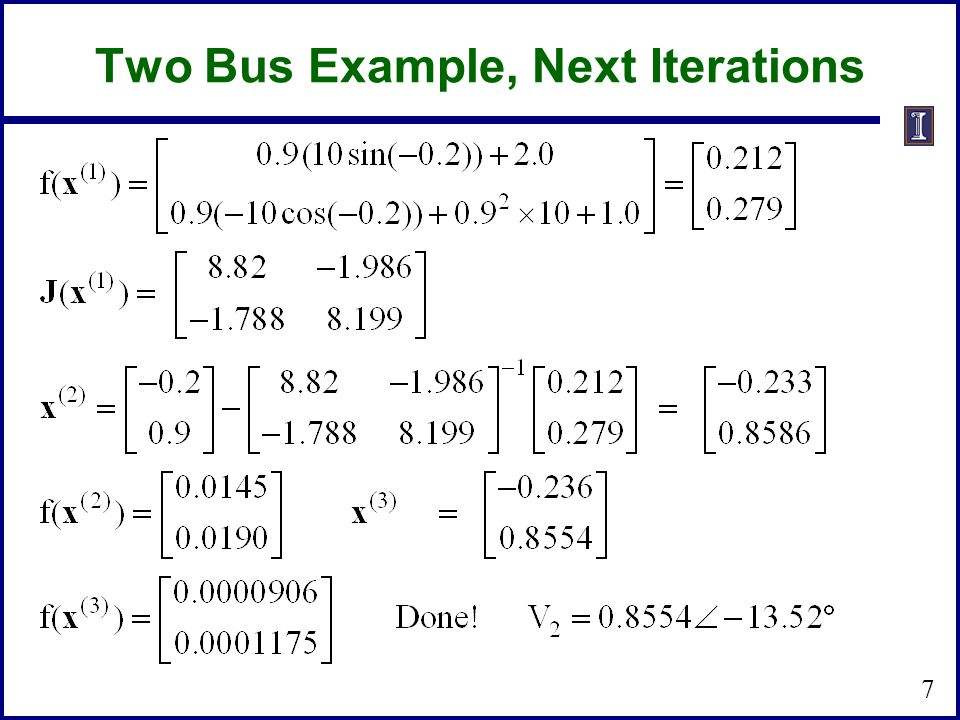 Two Bus Example, Next Iterations 7