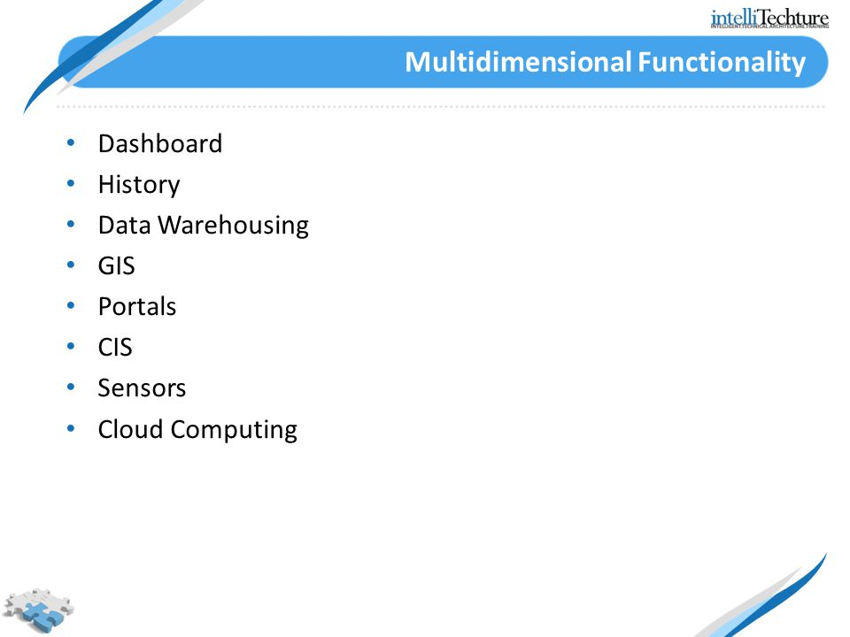 Multidimensional Functionality Dashboard History Data Warehousing GIS Portals CIS Sensors Cloud Computing