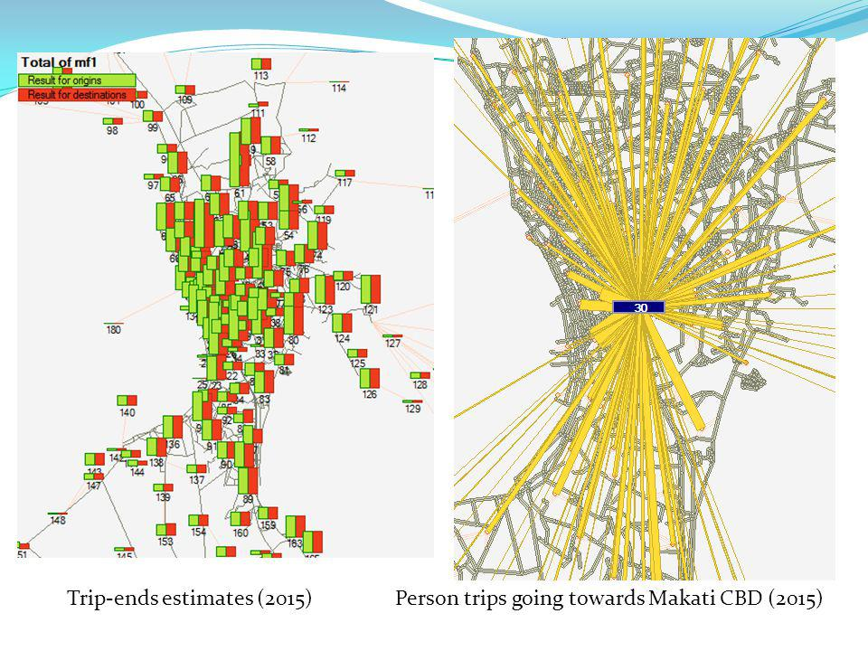 Trip-ends estimates (2015)Person trips going towards Makati CBD (2015)