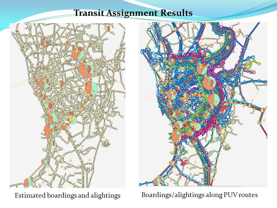 Estimated boardings and alightings Transit Assignment Results Boardings/alightings along PUV routes