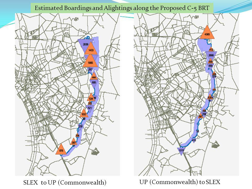 SLEX to UP (Commonwealth) UP (Commonwealth) to SLEX Estimated Boardings and Alightings along the Proposed C-5 BRT