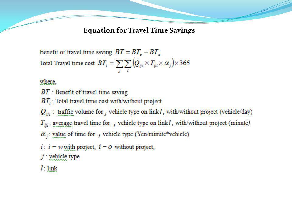 Equation for Travel Time Savings