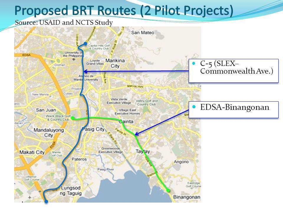C-5 (SLEX– Commonwealth Ave.) EDSA-Binangonan Source: USAID and NCTS Study