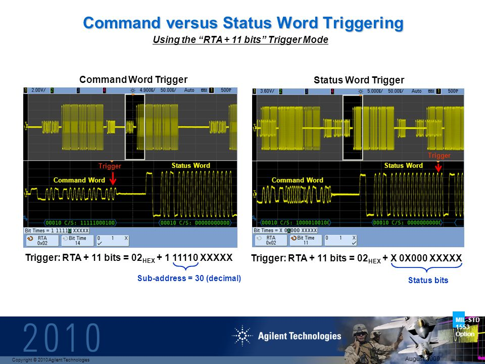 Copyright © 2010 Agilent Technologies MIL-STD 1553 Option August 2009 Sub-address = 30 (decimal) Command versus Status Word Triggering Command Word Trigger Status Word Trigger Trigger: RTA + 11 bits = 02 HEX + 1 11110 XXXXX Using the RTA + 11 bits Trigger Mode Trigger: RTA + 11 bits = 02 HEX + X 0X000 XXXXX Command Word Status Word Status bits Trigger Command Word Status Word