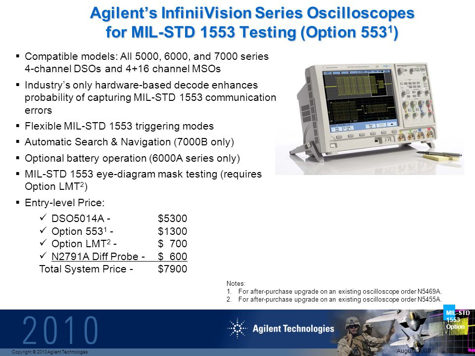 Copyright © 2010 Agilent Technologies MIL-STD 1553 Option August 2009 Agilents InfiniiVision Series Oscilloscopes for MIL-STD 1553 Testing (Option 553 1 ) Compatible models: All 5000, 6000, and 7000 series 4-channel DSOs and 4+16 channel MSOs Industrys only hardware-based decode enhances probability of capturing MIL-STD 1553 communication errors Flexible MIL-STD 1553 triggering modes Automatic Search & Navigation (7000B only) Optional battery operation (6000A series only) MIL-STD 1553 eye-diagram mask testing (requires Option LMT 2 ) Entry-level Price: DSO5014A - $5300 Option 553 1 - $1300 Option LMT 2 - $ 700 N2791A Diff Probe -$ 600 Total System Price - $7900 Notes: 1.For after-purchase upgrade on an existing oscilloscope order N5469A.