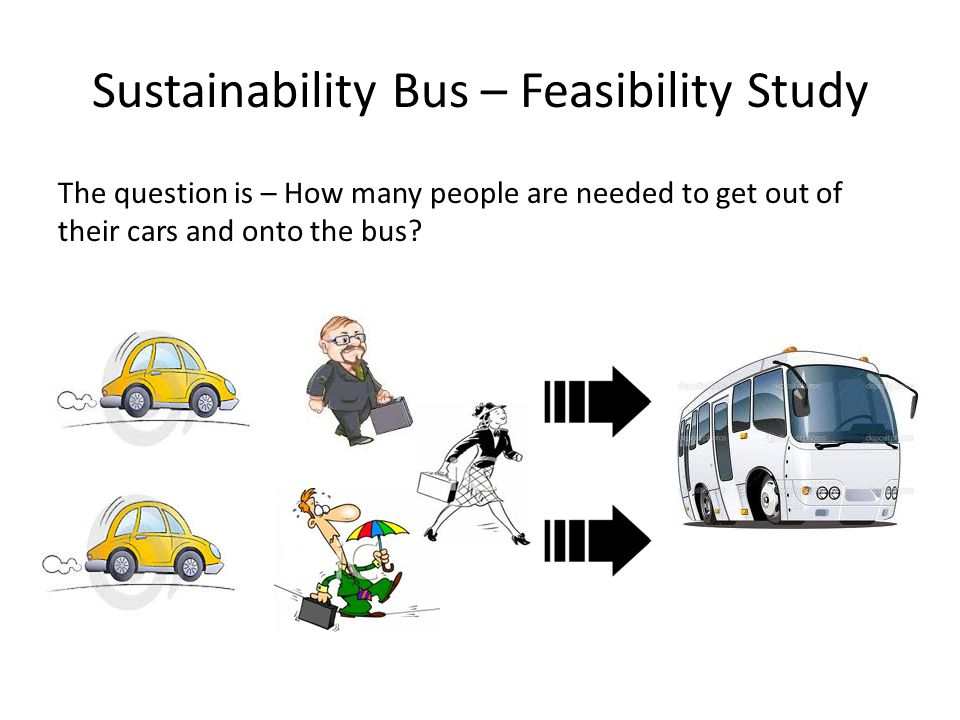 Sustainability Bus – Feasibility Study The question is – How many people are needed to get out of their cars and onto the bus