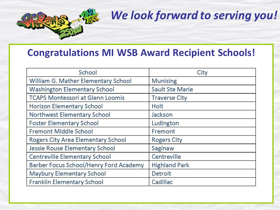 We look forward to serving you! Congratulations MI WSB Award Recipient Schools!