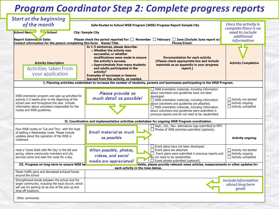 Program Coordinator Step 2: Complete progress reports When possible, photos, videos, and social media are appreciated.
