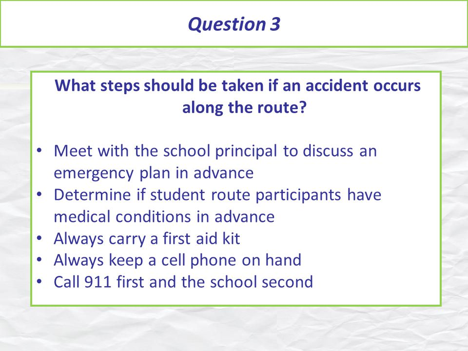 What steps should be taken if an accident occurs along the route.