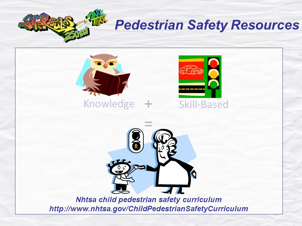 Pedestrian Safety Resources = Knowledge Skill-Based + Nhtsa child pedestrian safety curriculum http://www.nhtsa.gov/ChildPedestrianSafetyCurriculum