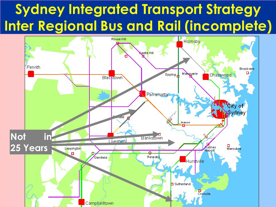 Sydney Integrated Transport Strategy Inter Regional Bus and Rail (incomplete) Not in 25 Years