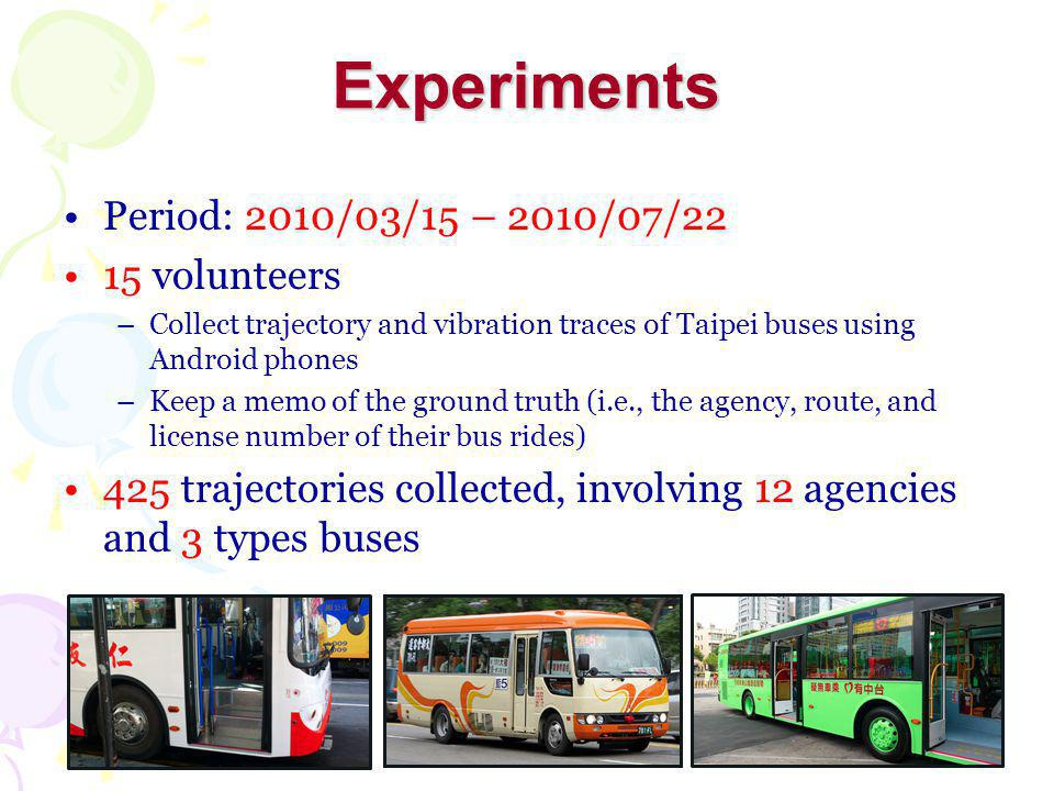 Experiments Period: 2010/03/15 – 2010/07/22 15 volunteers –Collect trajectory and vibration traces of Taipei buses using Android phones –Keep a memo of the ground truth (i.e., the agency, route, and license number of their bus rides) 425 trajectories collected, involving 12 agencies and 3 types buses