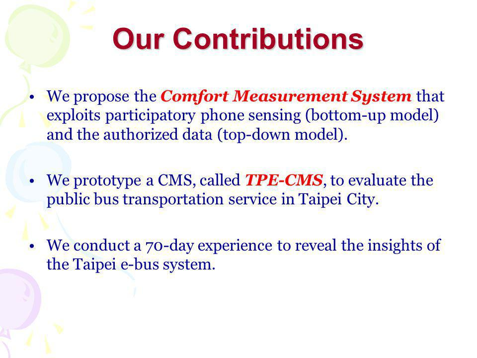 Exploit the GPS and G-sensor (3-axis accelerometer) of modern smart phones Calculate comfort index by following ISO 2631 Weighted AverageAcceleration Level uncomfortablecomfortable Phone Sensing