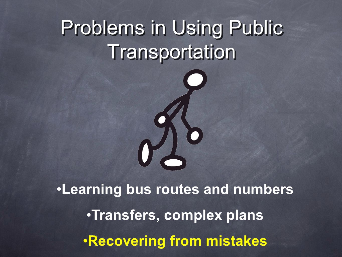 Problems in Using Public Transportation Learning bus routes and numbers Transfers, complex plans