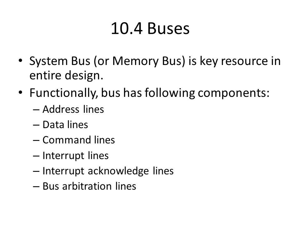 10.4 Buses Memory System bus CPU PCI bus Controller Bridge Controller