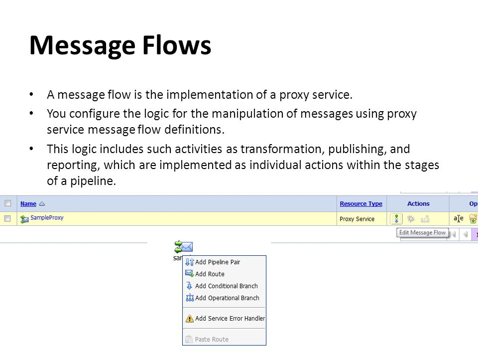 Message Flows A message flow is the implementation of a proxy service. You configure the logic for the manipulation of messages using proxy service me