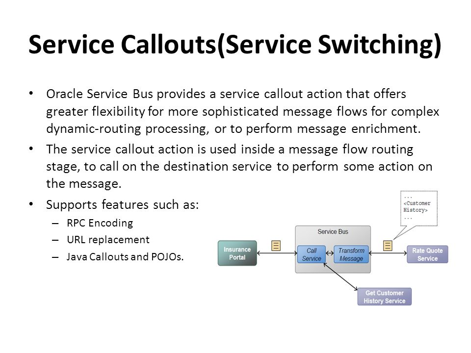 Service Callouts(Service Switching) Oracle Service Bus provides a service callout action that offers greater flexibility for more sophisticated messag