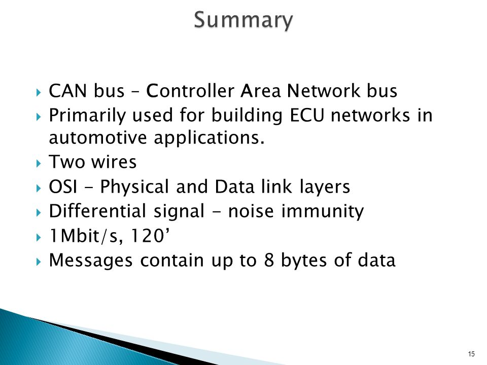 CAN bus – Controller Area Network bus Primarily used for building ECU networks in automotive applications.