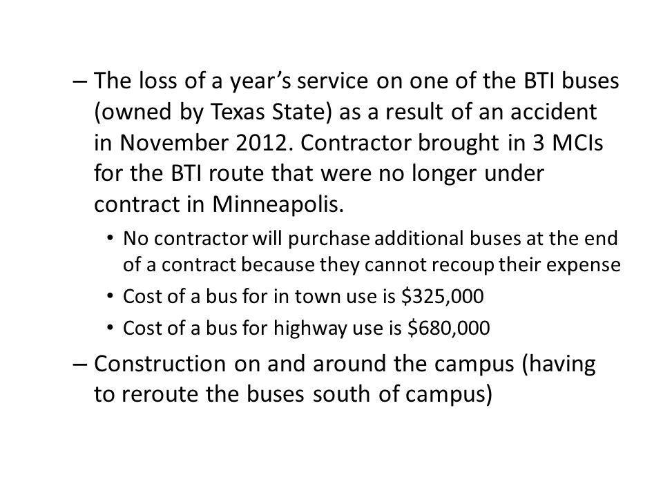 – The loss of a years service on one of the BTI buses (owned by Texas State) as a result of an accident in November 2012.