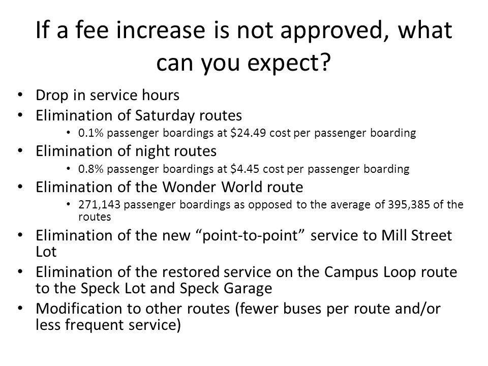 If a fee increase is not approved, what can you expect.