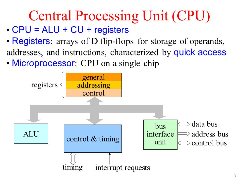7 Central Processing Unit (CPU) CPU = ALU + CU + registers Registers : arrays of D flip-flops for storage of operands, addresses, and instructions, ch