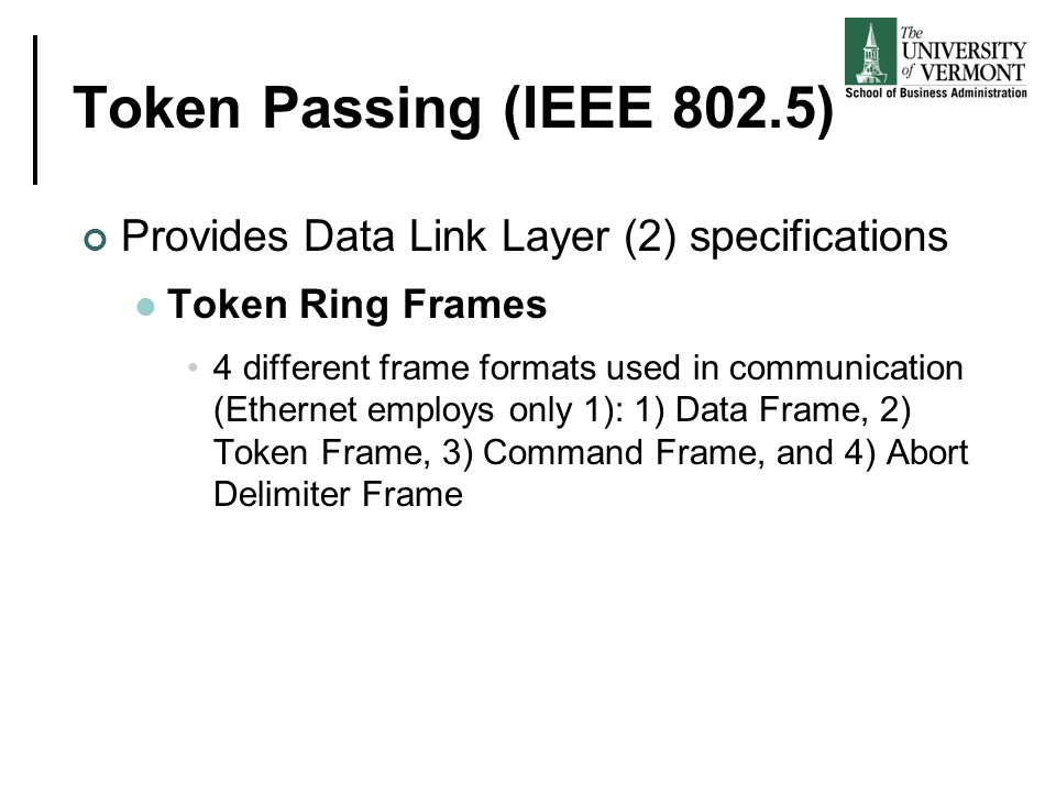 Token Passing (IEEE 802.5) Provides Data Link Layer (2) specifications Token Ring Frames 4 different frame formats used in communication (Ethernet emp