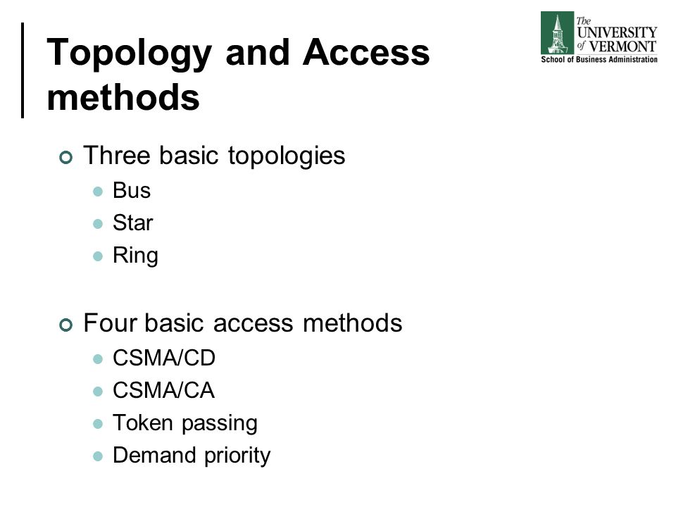 Topology and Access methods Three basic topologies Bus Star Ring Four basic access methods CSMA/CD CSMA/CA Token passing Demand priority