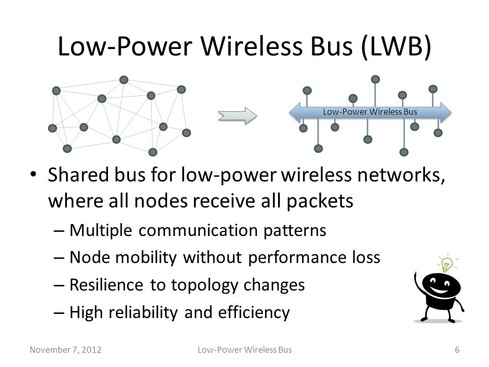 Low-Power Wireless Bus (LWB) Shared bus for low-power wireless networks, where all nodes receive all packets – Multiple communication patterns – Node