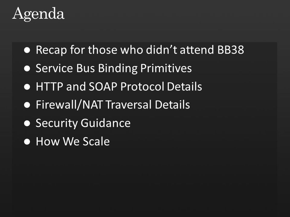 Service Bus sb://servicebus.windows.net/services/solution/a/b/ Backend Naming Routing Fabric Frontend Nodes How does this part work?