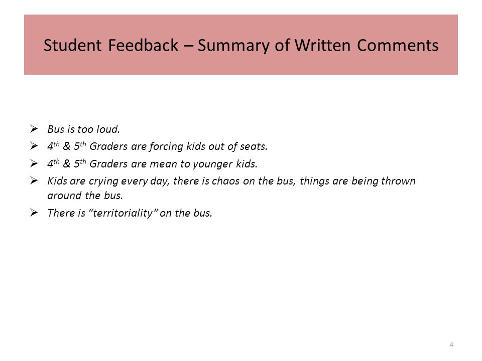Student Feedback – Summary of Written Comments Bus is too loud.