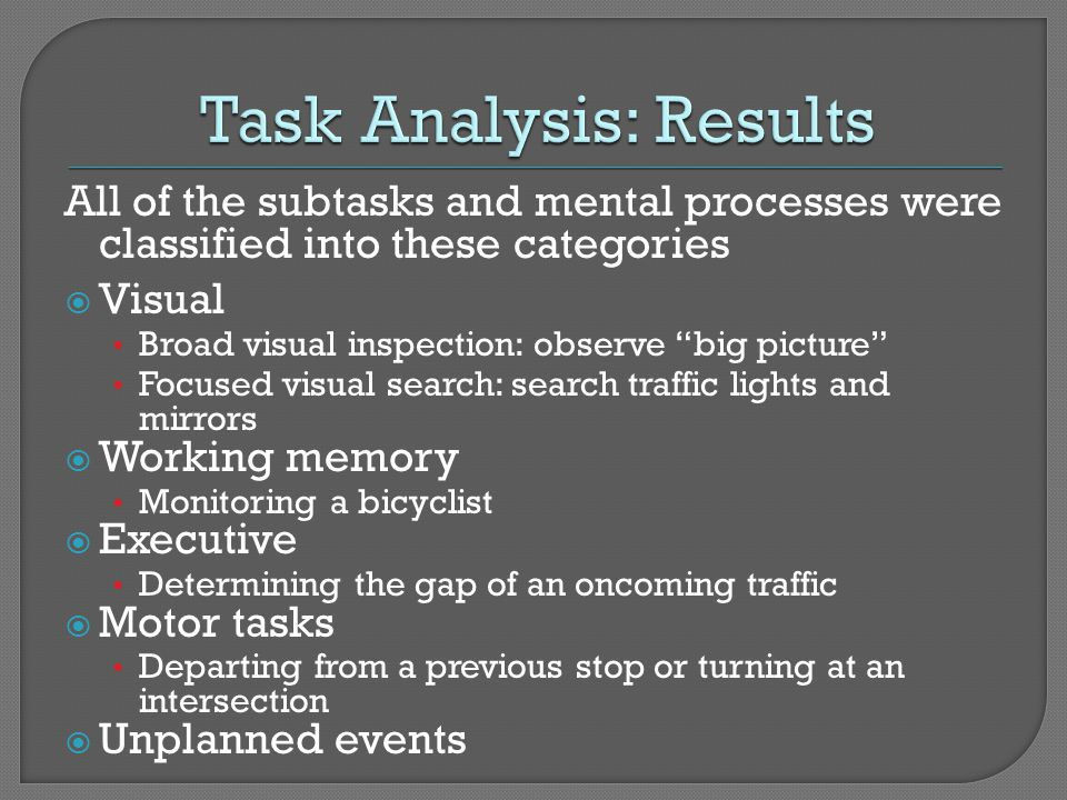 All of the subtasks and mental processes were classified into these categories Visual Broad visual inspection: observe big picture Focused visual sear