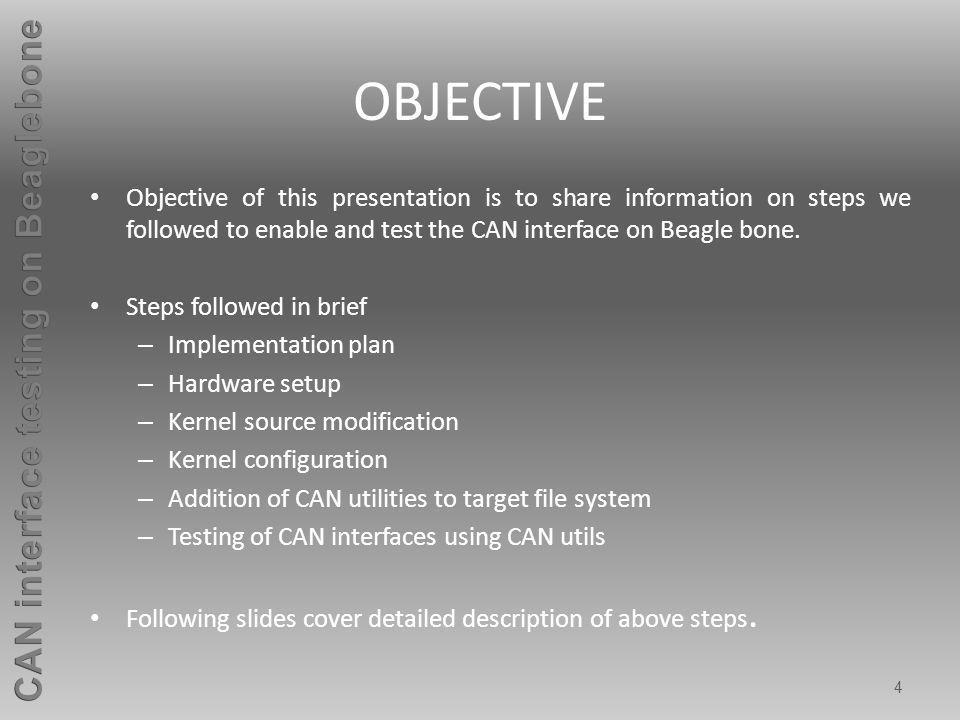 Implementation plan The following block diagram depicts the implementation plan for the CAN interface testing: