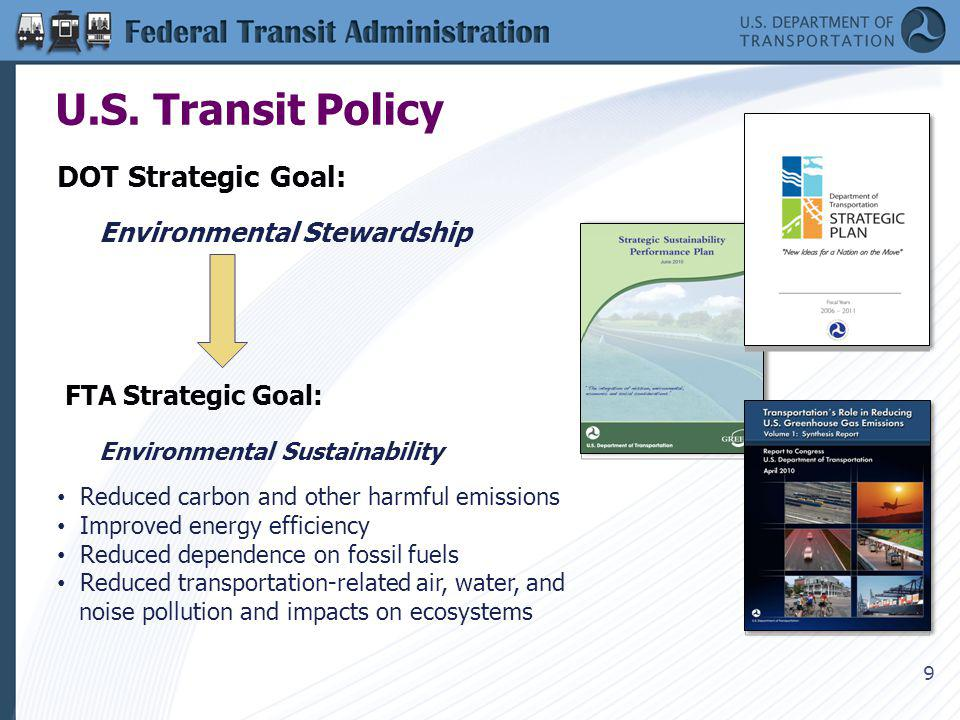 9 U.S. Transit Policy DOT Strategic Goal: Environmental Stewardship FTA Strategic Goal: Environmental Sustainability Reduced carbon and other harmful
