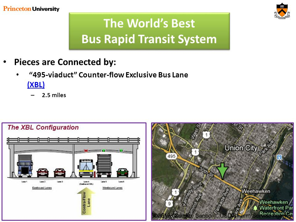 Pieces are Connected by: 495-viaduct Counter-flow Exclusive Bus Lane (XBL) (XBL) – 2.5 miles The Worlds Best Bus Rapid Transit System
