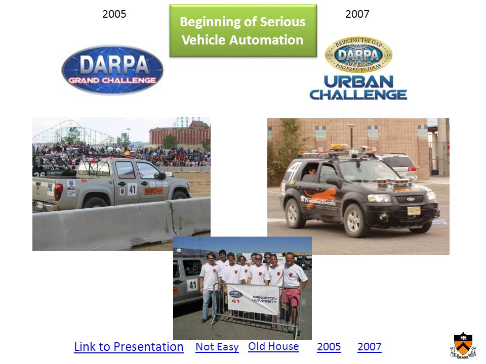 20052007 Link to Presentation Not Easy20072005 Old House Beginning of Serious Vehicle Automation