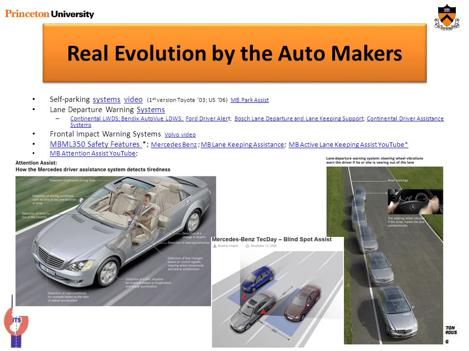 Real Evolution by the Auto Makers Self-parking systems video (1 st version Toyota 03; US 06) MB Park AssistsystemsvideoMB Park Assist Lane Departure W